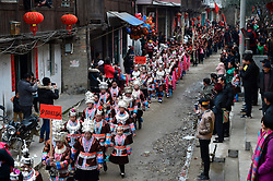 People of Dong ethnic group attend a parade celebrating a traditional festival, which falls on the second day of the second month in the Chinese lunar calendar, in Meilin Township under Dong Autonomous County of Sanjiang, south China's Guangxi Zhuang Autonomous Region, March 10, 2016. EXPA Pictures © 2016, PhotoCredit: EXPA/ Photoshot/ Huang Xiaobang<br /> <br /> *****ATTENTION - for AUT, SLO, CRO, SRB, BIH, MAZ, SUI only*****
