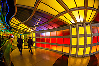 "Tunnel in the United Airlines terminal at O'Hare International Airport featuring Michael Hayden's light sculpture ""Sky's the Limit"", Chicago, Illinois, USA"