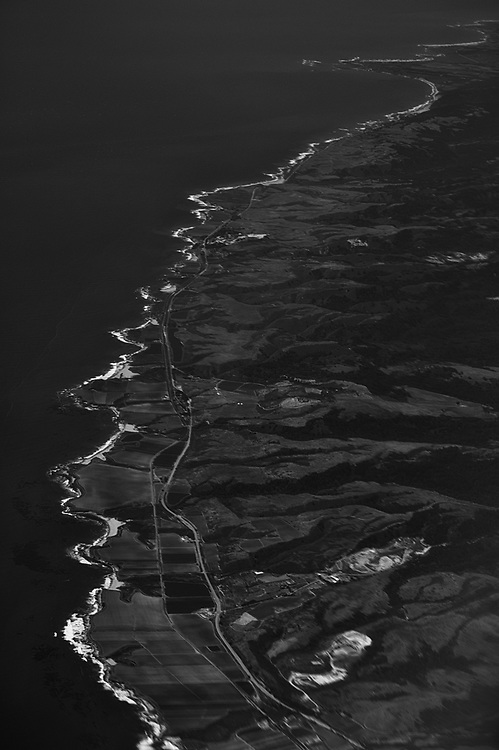 The California coastline is seen from the air.