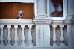 Labour leader Jeremy Corbyn looks out of a window after taking part in the BBC Election Debate hosted by BBC news presenter Mishal Husain at Senate House, Cambridge.