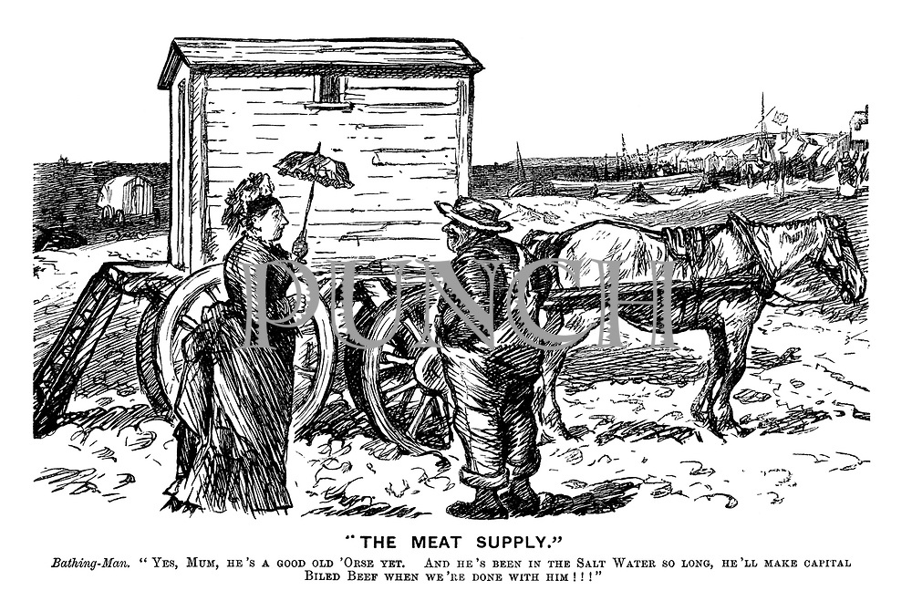 """""""The Meat Supply."""" Bathing-Man. """"Yes, Mum, he's a good old 'orse yet. And he's been in the salt water so long, he'll make capital biled beef when we're done with him!!!"""""""