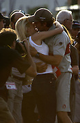 Ernesto Bertarelli kisses wife Kristy at the Louis Vuitton Cup presentation after Alinghi beats Oracle 5 - 1  in the finals. 19/1/2003  (© Chris Cameron 2003)