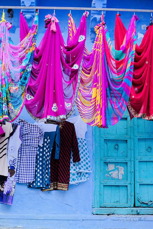 Fabrics drying outside a house in Jodhpur