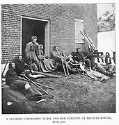 A SANITARY-COMMISSION NURSE AND HER PATIENTS AT FREDERICKSBURG,<br /> MAY, 1864 from the book ' The Civil war through the camera ' hundreds of vivid photographs actually taken in Civil war times, sixteen reproductions in color of famous war paintings. The new text history by Henry W. Elson. A. complete illustrated history of the Civil war