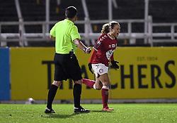 Ebony Salmon of Bristol City Women celebrates scoring her sides first goal of the game - Mandatory by-line: Ryan Hiscott/JMP - 13/01/2021 - FOOTBALL - Twerton Park - Bath, England - Bristol City Women v Aston Villa Women - FA Continental Cup quarter final