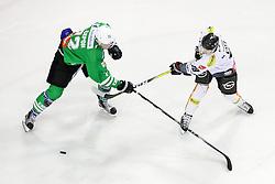 Daniel Ban of Dornbirner EC and Kristjan Cepon of Olimpija during ice hockey match between HDD Olimpija Ljubljana and Dornbirner EC in Erstebank league season 2016/17, on October 24, 2016 in Hala Tivoli, Ljubljana, Slovenia. Photo by Morgan Kristan / Sportida