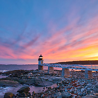 New England photography of Marshall Point Light with its iconic wooden walkway. This beautiful New England lighthouse is located Port Clyde in Maine and marks the entrance to Port Clyde harbor.<br />