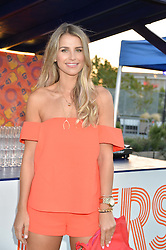 VOGUE WILLIAMS at the launch of the Orangina Boulers Rooftop Petanque held on the top floor of the Stratford Multistorey Car Park, Great Eastern Way, London E15 on 26th August 2015.