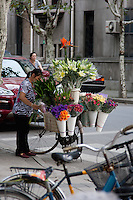 flower seller and customised bicycle in Shanghai China
