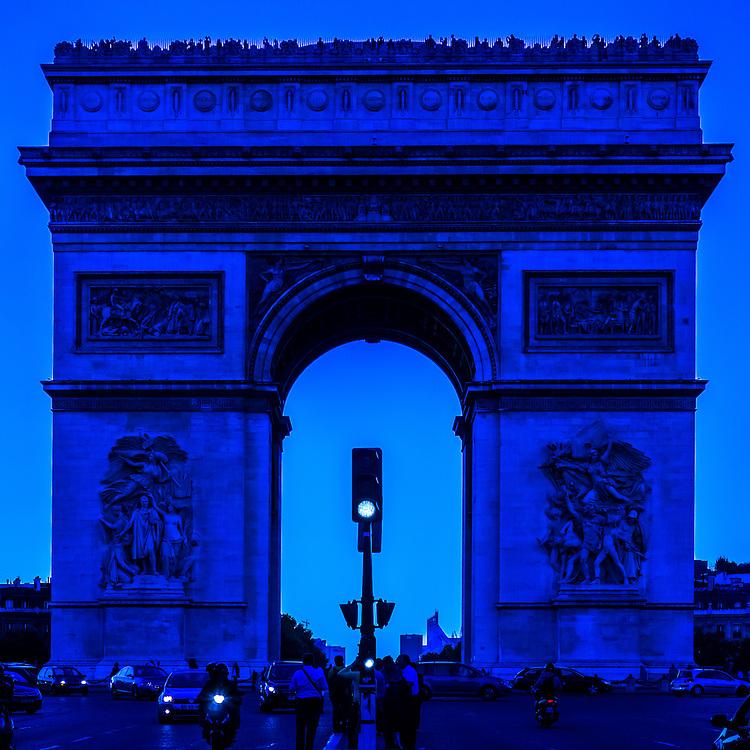 Arc de Triomphe in Paris France, seen through a blue filter