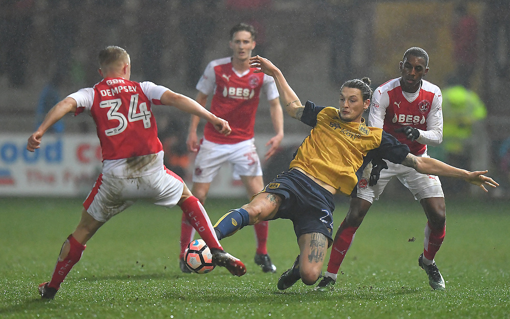 Now way through for Bristol City's Milan Djuric<br /> <br /> Photographer Dave Howarth/CameraSport<br /> <br /> Emirates FA Cup Third Round Replay - Fleetwood Town v Bristol City - Tuesday 17th January 2017 - Highbury Stadium - Fleetwood<br />  <br /> World Copyright © 2017 CameraSport. All rights reserved. 43 Linden Ave. Countesthorpe. Leicester. England. LE8 5PG - Tel: +44 (0) 116 277 4147 - admin@camerasport.com - www.camerasport.com