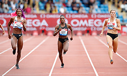 Great Britain's Dina Asher-Smith (centre) finishes second, Bahamas' Shaunae Miller-Uibo (left) wins and Netherland's Dafne Schippers (right) finishes third in the Women's 200m during the Muller Grand Prix at Alexander Stadium, Birmingham.