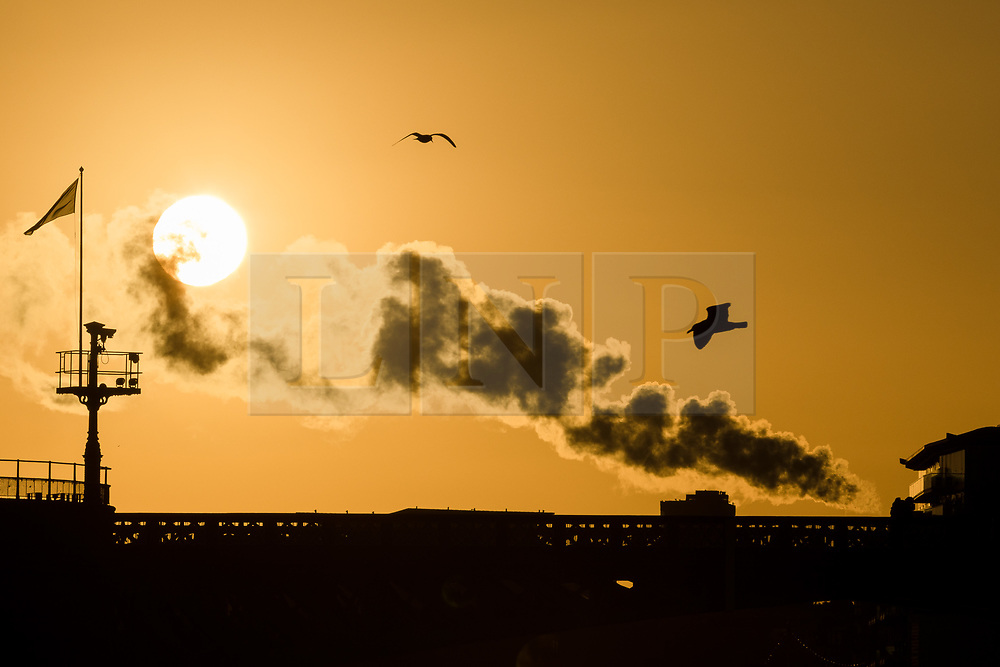 © Licensed to London News Pictures. 09/12/2017. London, UK. Birds flying in the sky during a clear sunrise behind Tower Bridge on the River Thames this morning, as the capital woke up to freezing temperatures and cold, clear weather. Photo credit: Vickie Flores/LNP