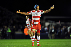 Mariano Galarza of Gloucester Rugby celebrates at the final whistle - Photo mandatory by-line: Patrick Khachfe/JMP - Mobile: 07966 386802 01/05/2015 - SPORT - RUGBY UNION - London - The Twickenham Stoop - Edinburgh Rugby v Gloucester Rugby - European Rugby Challenge Cup Final