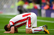 Erik Peiters of Stoke city on the pitch injured. Premier league match, Stoke City v Arsenal at the Bet365 Stadium in Stoke on Trent, Staffs on Saturday 19th August 2017.<br /> pic by Bradley Collyer, Andrew Orchard sports photography.