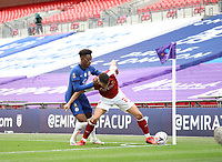 Football - 2020 Emirates 'Heads Up' FA Cup Final - Arsenal vs. Chelsea <br /> <br /> Callum Hudson-Odoi (C) and Granit Xhaka (A), at Wembley Stadium.<br /> <br /> The match is being played behind closed doors because of the current COVID-19 Coronavirus pandemic, and government social distancing/lockdown restrictions.