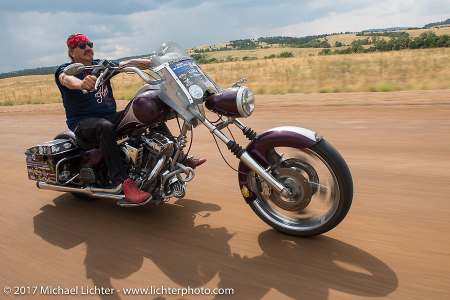 Bean're on Aidan's Ride to raise money for the Aiden Jack Seeger nonprofit foundation to help raise awareness and find a cure for ALD (Adrenoleukodystrophy) during the annual Sturgis Black Hills Motorcycle Rally. Riding the cut-off Fort Meade Way between I-90 and the Buffalo Chip, SD, USA. Tuesday August 8, 2017. Photography ©2017 Michael Lichter.