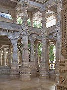Architectural detail of the magnificent Jain Temple at Ranakpur, near the city of Udaipur in Rajasthan India
