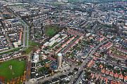 Nederland, Brabant, Oss, 15-11-2010. Centrum van de stad de Oude Watertoren - nu Ulu Moskee - in de voorgrond. Op het tweede plan de  Grote Kerk..luchtfoto (toeslag), aerial photo (additional fee required).foto/photo Siebe Swart