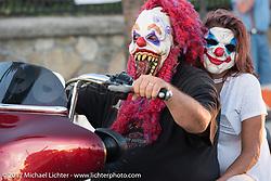 Getting ready for Halloween on Main Street during Biketoberfest. Daytona Beach, FL, USA. Friday October 20, 2017. Photography ©2017 Michael Lichter.