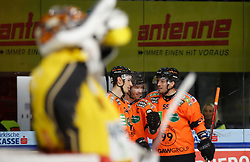 27.02.2020, Merkur Eisstadion, Graz, AUT, EBEL, Moser Medical Graz 99ers vs Vienna Capitals, Zwischenrunde, 9. Qualifikationsrunde, im Bild von links Ryan Zapolski (Vienna Capitals), Daniel Oberkofler (Moser Medical Graz 99ers), Ken Ograjensek (Moser Medical Graz 99ers) und Trevor Hamilton (Moser Medical Graz 99ers) // from l to r Ryan Zapolski (Vienna Capitals) Daniel Oberkofler (Moser Medical Graz 99ers) Ken Ograjensek (Moser Medical Graz 99ers) and Trevor Hamilton (Moser Medical Graz 99ers) during the Erste Bank Eishockey League Intermediate round, 9th qualifying round match between Moser Medical Graz 99ers and Vienna Capitals at the Merkur Eisstadion in Graz, Austria on 2020/02/27. EXPA Pictures © 2020, PhotoCredit: EXPA/ Erwin Scheriau