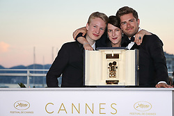 71st Cannes Film Festival Prizes Photocall. Swiss director and President of the Camera d'Or jury Ursula Meier poses with Belgian director Lukas Dhont and Belgian actor Victor Polster on May 19, 2018 during a photocall after the former won the Camera d'Or prize for the film Girl at the 71st edition of the Cannes Film Festival Photo by Shootpix/ABACAPRESS.COM