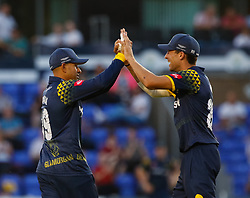 Glamorgan's Usman Khawaja celebrates the wicket of Gloucestershire's Miles Hammond<br /> <br /> Photographer Simon King/Replay Images<br /> <br /> Vitality Blast T20 - Round 8 - Glamorgan v Gloucestershire - Friday 3rd August 2018 - Sophia Gardens - Cardiff<br /> <br /> World Copyright © Replay Images . All rights reserved. info@replayimages.co.uk - http://replayimages.co.uk