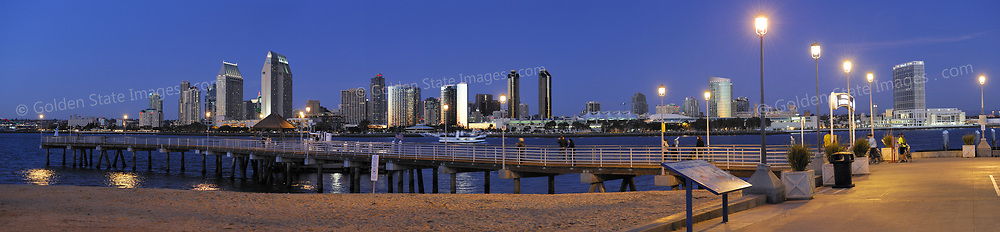 Downtown skyline combined with Coronado Ferry Dock in foreground. Panoramic available up to 11849x2747 pixels.