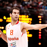 15 July 2012: Jose Calderon of Team Spain sets the offense during a pre-Olympic exhibition game won 75-70 by Spain over France, at the Palais Omnisports de Paris Bercy, in Paris, France.