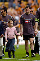 Photo. Jed Wee, Digitalsport<br /> NORWAY ONLY<br /> <br /> Wolverhampton Wanderers v Tottenham Hotspurs, FA Barclaycard Premiership, 15/05/2004.<br /> Wolves' Dennis Irwin bids an emotional farewell after a long and distinguished career.