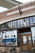 """""""The Finnish Meat Market"""" är nu ett café. I fönstret syns reflexen av Suomi Hall. Astoria, Oregon<br /> <br /> Foto: Christina Sjögren"""