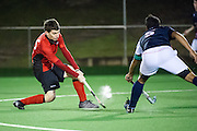 Timmy Smyth shoots over the bar. Disappointing day in the office all round as the M1s go down 2-0 against Cambridge City. Southgate v St Albans - Men's Hockey League - East Conference, Trent Park, London, UK on 04 February 2017. Photo: Simon Parker