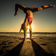 Nicole Zapoli working out on the beach in Encinitas, CA.