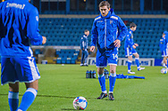 Gillingham FC defender Robbie McKenzie (14) warming up before the EFL Sky Bet League 1 match between Gillingham and Crewe Alexandra at the MEMS Priestfield Stadium, Gillingham, England on 26 January 2021.