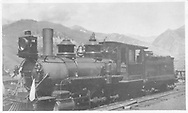 """RGS 2-8-0 #18 in Telluride yard.<br /> RGS  Telluride, CO  ca 1915<br /> In book """"Rio Grande Southern, The: An Ultimate Pictorial Study"""" page 162<br /> See RD155-086 for enlargement."""