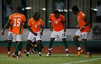 Photo: Steve Bond/Richard Lane Photography.<br /> Ivory Coast v Benin. Africa Cup of Nations. 25/01/2008. Abdul Kadir Keita (2nd from R) celebrates his goal
