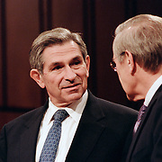 Paul Wolfowitz (left), Deputy Secretary of Defense, and Donald Rumsfeld (right), Secretary of Defense, testifying before the 9/11 Commission's Public Hearing Number 8 on Tuesday, 23 March 2004.