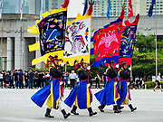 08 JUNE 2018 - SEOUL, SOUTH KOREA: A traditional South Korean honor guard at the War Memorial of Korea in Seoul, South Korea. With the near constant threat of invasion from North Korea, many South Koreans take great pride in the ability of their armed forces. Some observers believe there is a possibility that a peace agreement between South and North Korea could be signed following the Trump/Kim summit in Singapore. The War Memorial and museum opened in 1994 on the former site of the army headquarters to exhibit and memorialize the military history of Korea. When it opened in 1994 it was the largest building of its kind in the world. The museum features displays about the Korean War and many static displays of military equipment.    PHOTO BY JACK KURTZ