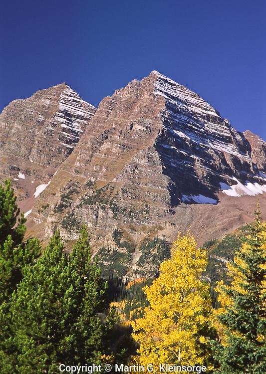 Maroon Bells of the Elk Mountains during the autumn season.  Colorado.  USA.