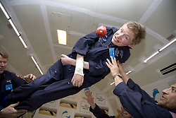 Physicist Stephen Hawking experiences a very weight moment during a flight on Zero Gravity jet, near Florida on April 26, 2007. Photo by Zero G via Balkis Press/ABACAPRESS.COM    121247_04 Orlando
