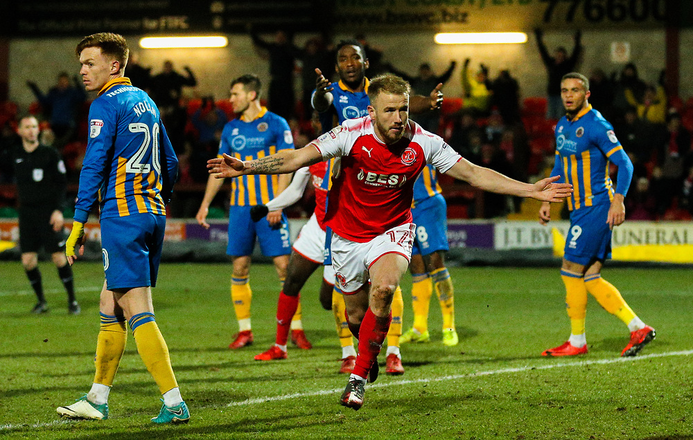 Fleetwood Town's Paddy Madden celebrates scoring his side's equalising goal to make the score 1-1<br /> <br /> Photographer Alex Dodd/CameraSport<br /> <br /> The EFL Sky Bet League One - Fleetwood Town v Shrewsbury Town - Tuesday 13th February 2018 - Highbury Stadium - Fleetwood<br /> <br /> World Copyright © 2018 CameraSport. All rights reserved. 43 Linden Ave. Countesthorpe. Leicester. England. LE8 5PG - Tel: +44 (0) 116 277 4147 - admin@camerasport.com - www.camerasport.com