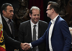 April 24, 2018 - Heist-Op-Den-Berg, FRANCE - Thierry Gouvenou, Christian Prudhomme, cycling director of ASO (Amaury Sport Organisation) and Verandas Willems - Crelan team director Nick Nuyens attend the funeral ceremony for cyclist Michael Goolaerts, Tuesday 24 April 2018 in Hallaar, Heist-Op-Den-Berg. Michael Goolaerts died after a crash in the Paris-Roubaix race on Sunday 8 April 2018, he was 23 years old...BELGA PHOTO DIRK WAEM (Credit Image: © Dirk Waem/Belga via ZUMA Press)