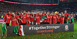 CARDIFF, WALES - Tuesday, October 13, 2015: Wales players celebrate qualifying for the finals after a 2-0 victory over Andorra during the final UEFA Euro 2016 qualifying Group B match at the Cardiff City Stadium. Hal Robson-Kanu, Jonathan Williams, Joe Allen, Joe Ledley, Chris Gunter, Gareth Bale. (Pic by Barry Coombs/Propaganda)