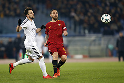 December 5, 2017 - Rome, Italy - Daniele De Rossi (R) of Roma is tackled by Mahir Madatov of Qarabag during their UEFA Champions League Group C soccer match in Rome. Roma won the match 1-0. (Credit Image: © Giampiero Sposito/Pacific Press via ZUMA Wire)
