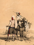 Two men meeting on the road near Tarbes in the French Pyrenees and stopping to talk. Both wear fitted cap-sleeved jackets, knee length breeches and leggings. Tinted lithograph from 'Nouvelles Suite de Costumes des Pyrenees' (Paris, c1840).