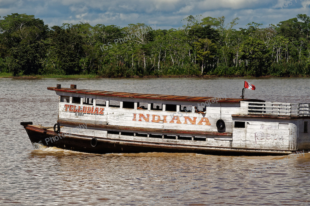 A passenger ferry on the Amazon river near the town of Indiana, Peru