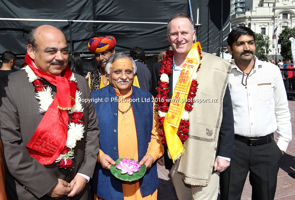 Prime Minister John Key poses for photographs at the Diwali Festival, Auckland, New Zealand. Saturday 15 October 2016. © Copyright Image: Ben Campbell / www.photosport.nz