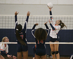 October 26, 2017 - Florida, U.S. - Class 4A girls volleyball regional semifinal between Miami Country Day and Benjamin at The Benjamin School in Palm Beach Gardens Thursday, October 26, 2017. At right is Benjamin's #11 Heather Sley. At center is Miami Country Day's #14 Taylor Lynott. (Credit Image: © Bruce R. Bennett/The Palm Beach Post via ZUMA Wire)