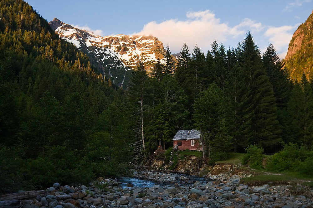Monte Cristo Townsite at sunset in Mount Baker-Snoqualmie National Forest, Washington.
