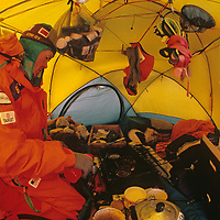 Will Steger refuels his Coleman Stove - a vital survival tool - at the South Pole, about halfway through the 1989-1990 Trans-Antarctica Expedition.